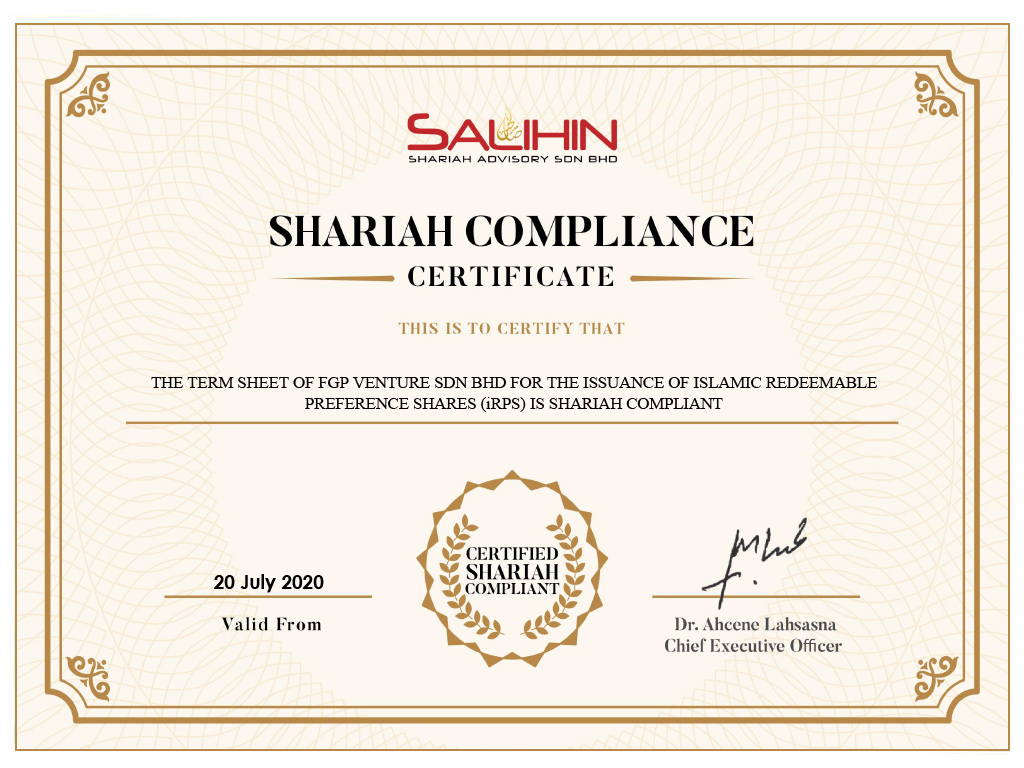 Shariah Compliance Certificate